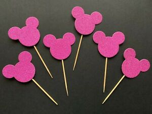 6 Large Mickey Mouse Ears Xmas Party birthday cup Cake toppers Pick Pink glitter