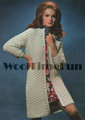 DK Wool. Crochet Pattern Vintage Lady/'s Coat//Cardigan//Long Jacket