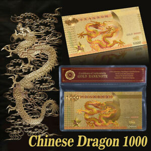WR Chinese Dragon Colored Gold Banknote 1000 RMB Asian Note Gifts