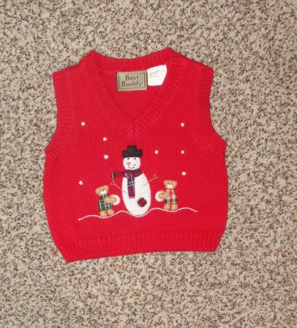 Best Buddy Baby Boys Red Snowman Christmas Sweater Vest ...
