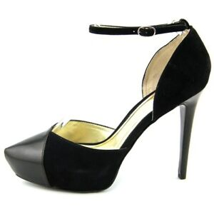 Carlos-Santana-Capelli-Women-US-7-Black-Open-Toe-Suede-Platform-Heel