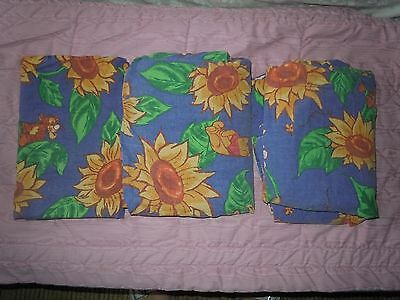 Vintage Twin Sheet Set Winnie The Pooh Sunflowers Disney 100% Cotton Blue EUC