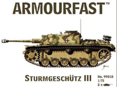 Armourfast 1//72nd Scale WWII German Sturmgeschutz III Model Kit 99018 2 Pcs NEW