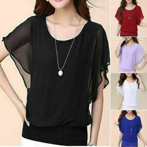 New-Women-039-s-Ladies-Casual-Loose-Chiffon-Long-Sleeve-Tops-Blouse-Fashion-T-Shirt