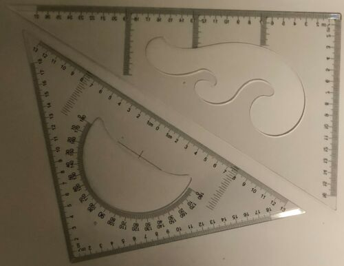 30//60 /& 45 DEGREE GEOMETRY TRIANGLE RULER DRAWING DRAFTING SET-2 PIECES 30 cm