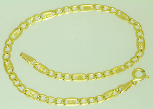 Damen-amp-Herren-Gold-Panzer-Armband-mit-Plaetchen-585-er-Gelbgold-14-Kt-21-cm-lang