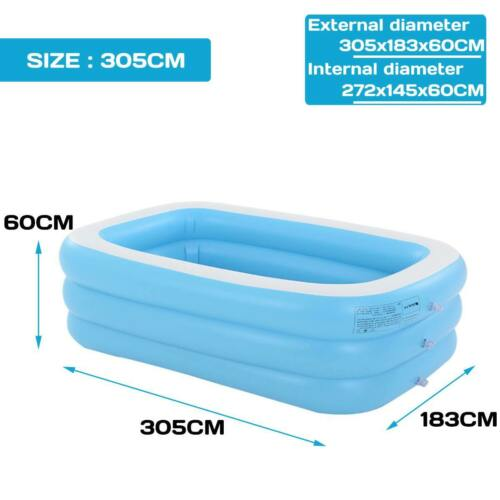 3.05m Large Inflatable Swimming Pool Children Adults Bathing Tub Baby Home 1.1m
