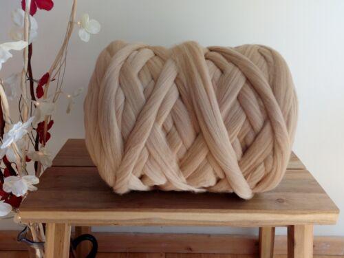 1 KG Beige 100/%Merino Wolle für Filzen Riesig Garn Extreme Arm Stricken 100 G