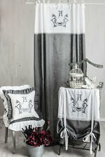 ANNA GRAU BESTICKT Gardine 2 Stück Vorhang Romantik Shabby Curtain Landhaus CHIC