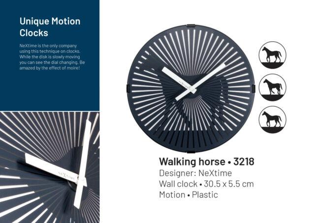 mit optischer Illusion NeXtime Designer Wanduhr Walking Horse Pferd läuft