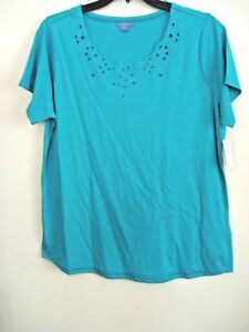 Top Knit Embroidered Virdian Design Size Green Ladies 2x New qv5adExWw