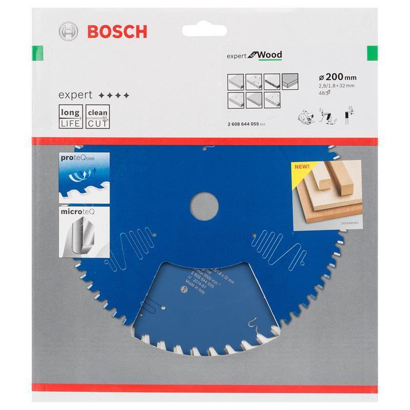 Bosch Hm-Sägeblatt 200x2,8x32 Z48 2608644055 Expert for Wood, für Handkreissägen