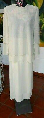 Romantisch Cremeweißes Cocktailkleid, Abendkleid, Gr. 42, 2 Teilig, Spanisches Designer, Die Neueste Mode