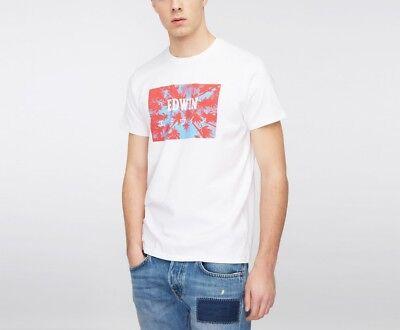SchöN Edwin Jeans Japan Palm Logo T Shirt White Red White Emblazoned Ship Worldwide Eine GroßE Auswahl An Farben Und Designs