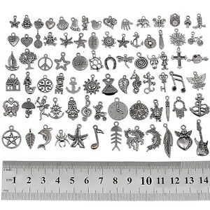 RUBYCA 160Pcs Wholesale Bulk Lots Tibetan Silver Color Mix Pendants Charms NEW