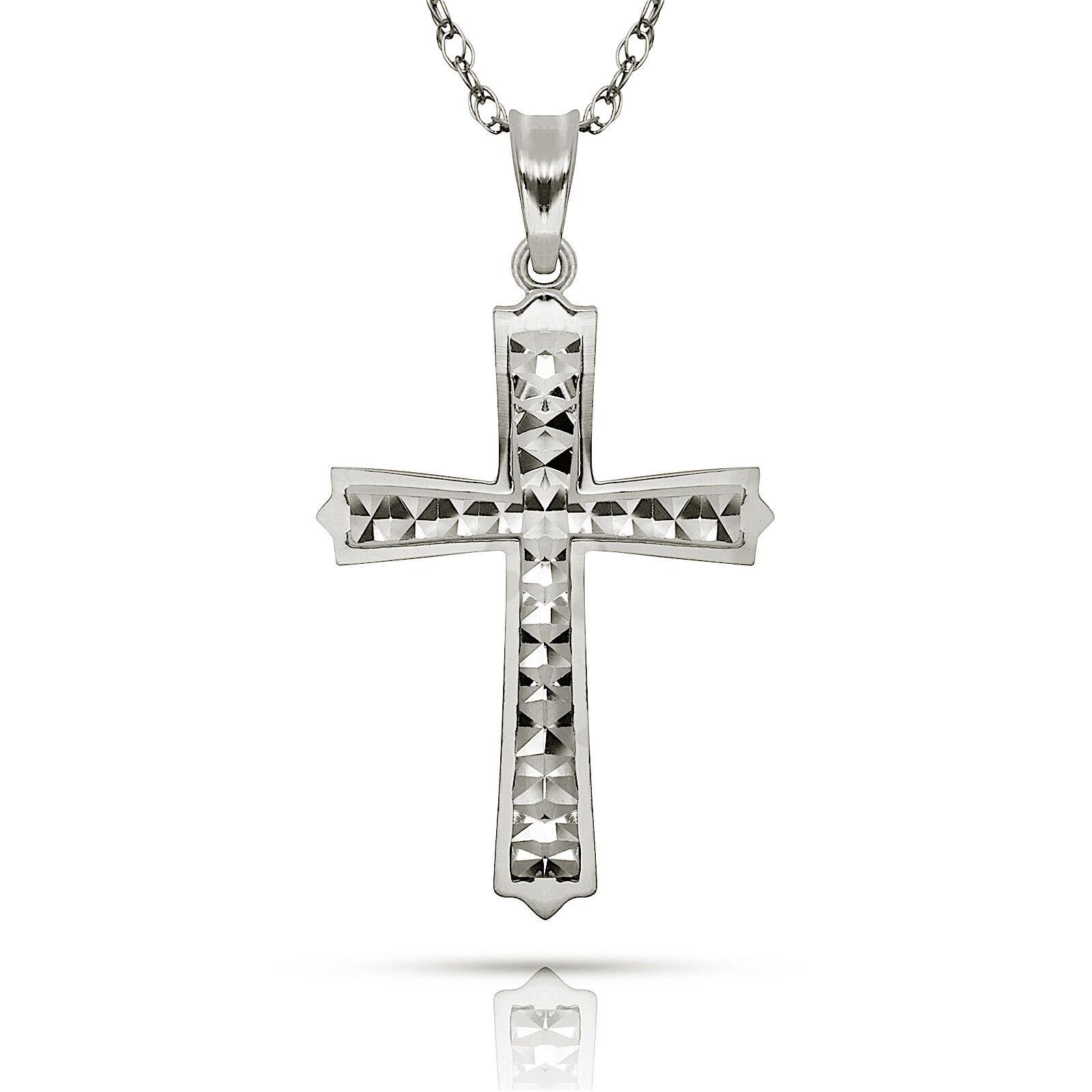 14K White gold Diamond Cut Satin Crucifix Religious Charm Cross Pendant