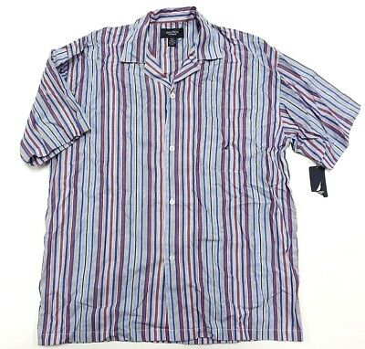 Adroit Nwt Nautica Sleepwear Button Up Striped Shirt Men's Size Large 100% Cotton Top Watermelons