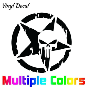 Distressed-Punisher-Skull-Star-Decal-Vinyl-Sticker-4x4-034