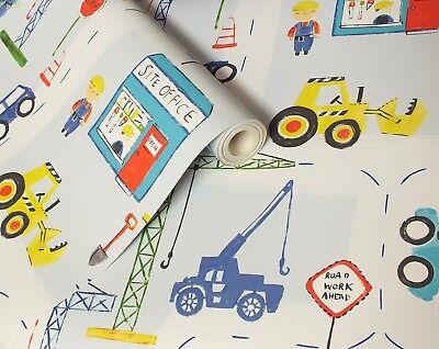 Children's, Kids, Diggers, Cranes, Trucks, Building Site, Road Works Wallpaper