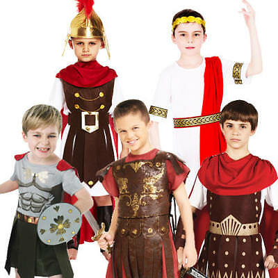 Boys Kids Historical Roman Gladiator Warrior Book Day Fancy Dress Costume Outfit