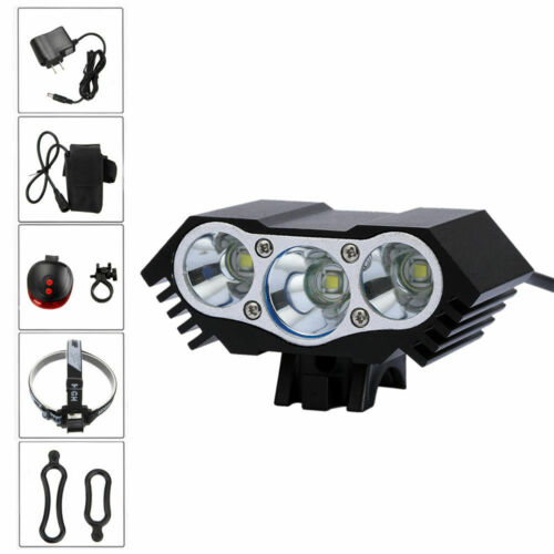 Super Bright 30000 LM 3x T6 LED Vélo Vélo Phare Lampe Phare Arrière Ensemble