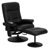 Massaging Black Leather Recliner And Ottoman With Leather Wrapped Base
