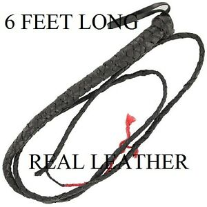 Great Horse Training Tool SJAMBOK NEW Black Leather BULL WHIP with Ball Tip