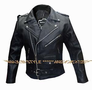 Men/'s Genuine Real Leather Vintage Retro 50/'s Biker Brando Motorcycle Jacket