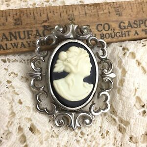 Vintage-Mourning-Cameo-Pin-2-Sides-Photo-Brooch-Pendant-Reverse-Swivel-Silver
