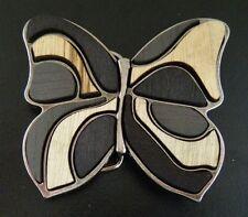 Boucle de Ceinture Antique Brass Buckle Dark Brown Wood Fill-In Butterfly Cool