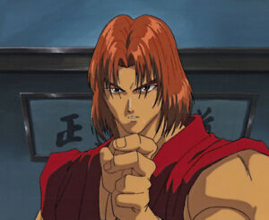 Details about Street Fighter II V Anime Production Cel Ken in Red-Gi  Background Rare! A1 1995