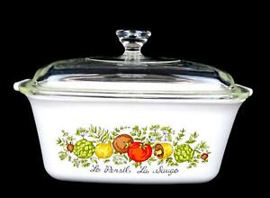 """CORNING WARE P4B SPICE OF LIFE 1.5 QUART 9 1/4"""" CASSEROLE WITH PYREX LID 1972"""