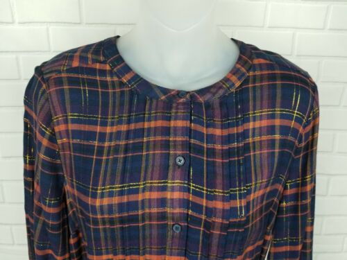 LUCKY BRAND New $99 Navy Orange Plaid Gold Long Top Button Front Blouse Dress