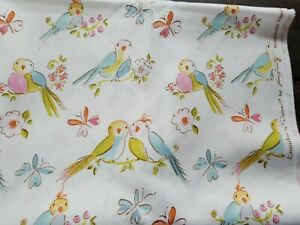 Leanika Lovebirds and Butterflies OOP RARE 100/% cotton fabric- 1 yard By Dena-  #DF67