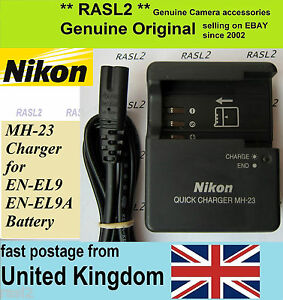 Genuine Nikon D40 D40X D60 D3000 D5000 cargador y la batería MH-23//EN-EL9