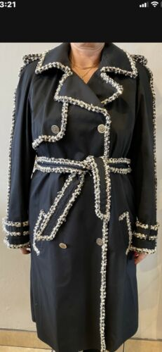 Authentic Chanel Trench Coat Size 46 Navy Blue