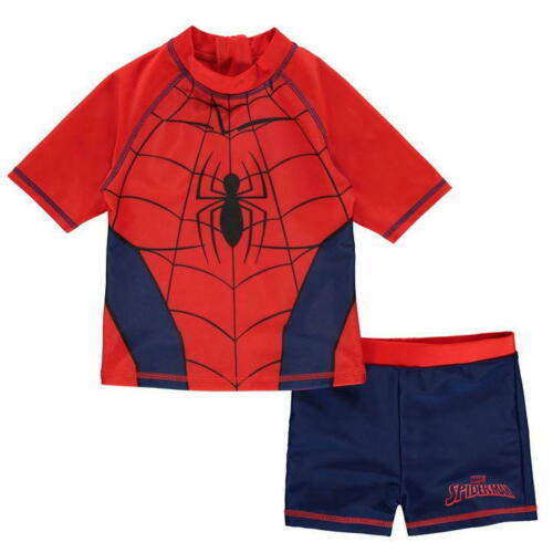 BOYS JUNIORS KIDS SPIDER-MAN 2 PIECE SWIMSUIT SWIMMING COSTUME SWIM SHORTS TOP