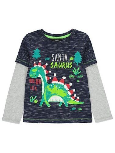 Christmas Santasaurus Dinosaur Cotton Long Sleeve T-Shirt Age 18-24 Months NEW