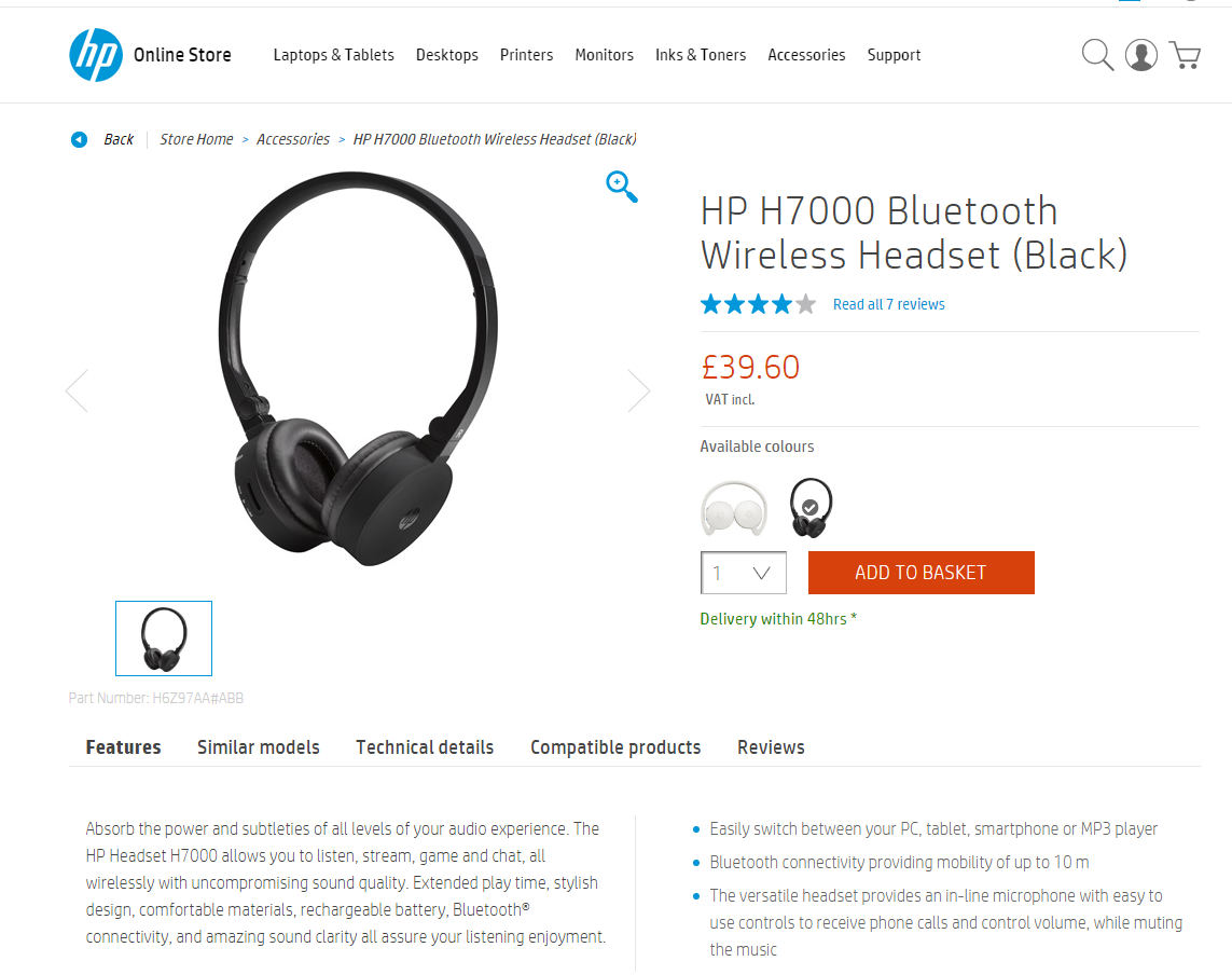 HP H7000 Wireless Headset Microphone