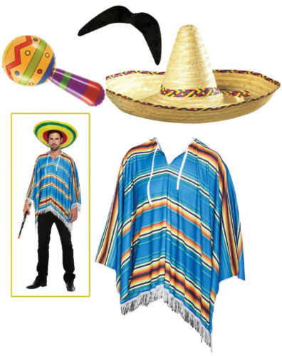 Mexican Poncho Inflatable Maracas /& Tash Costume Stag Party Outfit Sombrero