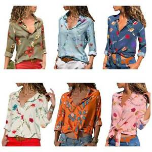 Mujer-Chica-Blusa-Camisa-Estampado-Flores-Manga-Larga-Talla-Grande-Playa-Nuevo