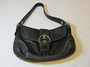 Coach-Black-front-snap-closure-silver-leather-hobo-purse-shoulder-bag-pre-owned