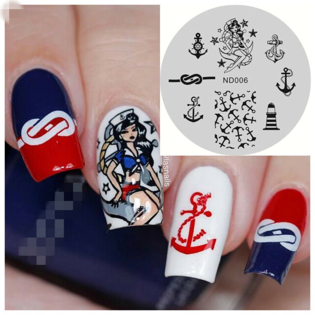 Nicole Diary Nail Art Stamping Plate Beauty Girl Anchor Image Stamp ...