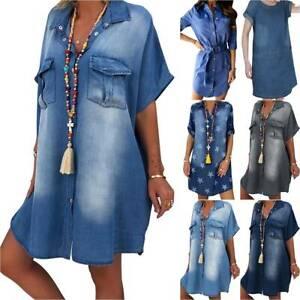 Womens Denim Mini Dress Summer Casual Holiday Beach Jeans Shirt Tunic Dresses Ebay