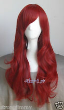 HOT 2017 Disney The Little Mermaid Ariel Curly Wave Red Wig Cosplay Wig + gift
