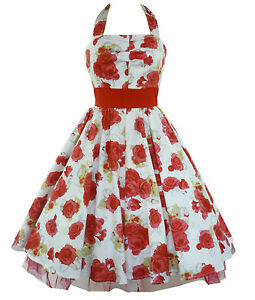 H R Rockabilly Kleid Tanzkleid Petticoat Pin Up Rosen Fasching Dress
