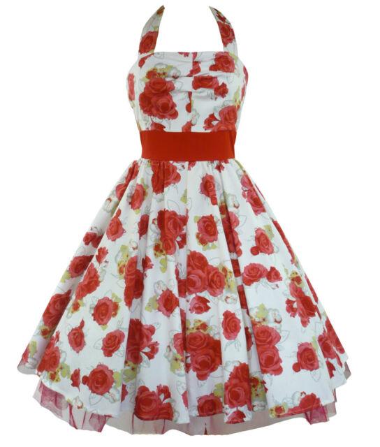 H&R London Rockabilly Kleid Tanzkleid Petticoat Pin Up Burlesque Dress Rot 9032
