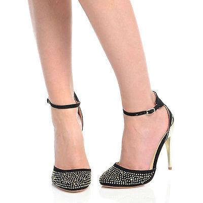 Nuevo para mujer señoras Diamante en las tiras el talón stiletto Zapatos Talla 38