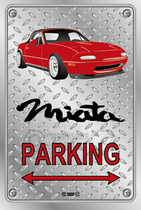 Parking-Sign-Metal-Mazda-MX5-Red-Enki-Checkerplate-Look
