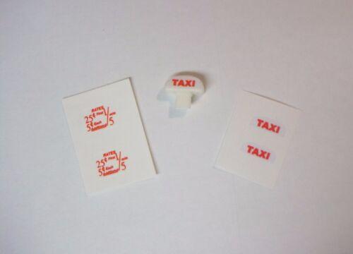the right set! Corgi 221//480 Impala Taxi decal set and repro plastic roof sign
